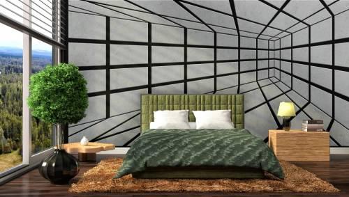 חדר שינה עם קירות מעוצבים