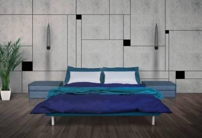 שילוב קירות בטון בחדר שינה